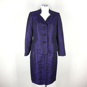 Le Suit 8 Purple Black Brocade Skirt Suit Paisley